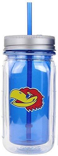 NCAA Kansas Jayhawks 16 oz Mason Jar Mug with Straw and Dual Function Cap