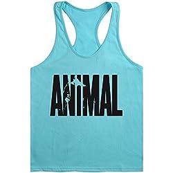 WAYLONGPLUS Mens Animal Letter Print Fitness Gym Stringer Tank Tops for Bodybuilding Muscle Workout (LightBlue-BK,L)