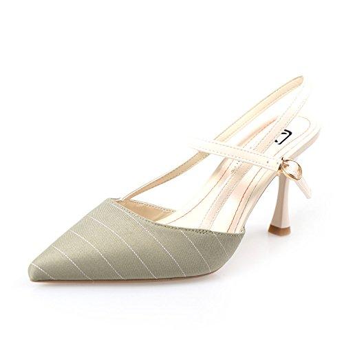 d145ad49 QWER Sandalias de Mujer Punta de High-Heel Zapatos Moda Mujer, Cosido en  Hilo