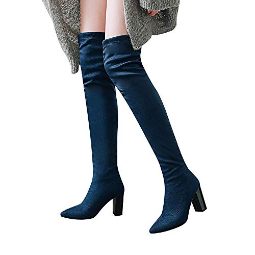 Tacon Azul Lace Muslo De High Charol Up Slim Boot Conguitos Women ALIKEEY 'S Muslo Knee Alto Stretch Largo Botas Over 1wYxZFp