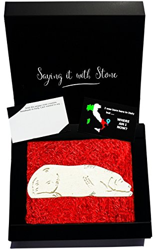 - Stone Dog Christmas Gift - Contains Fossil Fragments - Handmade in Italy