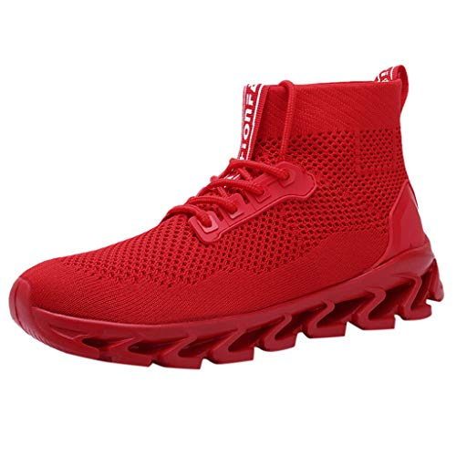 2019 New!! Respctful ♫♫Men's Fashion High Top Sneakers Mesh Breathable Youth Walking Shoes for Casual Outdoor Red