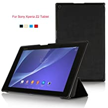 Asuxtek®Sony Xperia Z2 Tablet Ultra-Thin Multi-angle Stand Slim Smart Cover Case, only fit Sony Xperia Z2 Tablet (For Sony Xperia Z2 Tablet, Black)