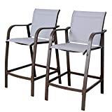 Crestlive Products Counter Height Bar Stools All Weather Patio Furniture with Heavy Duty Aluminum Frame in Antique Brown Finish for Outdoor Indoor, 2 PCS Set (Light Gray)