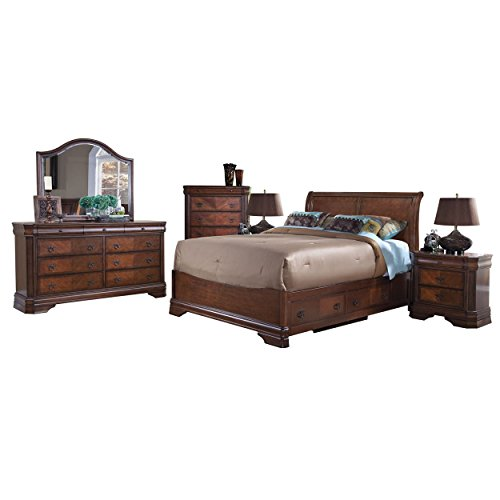 Savona Storage 6 Piece E King Bed, 2 Nightstand, Dresser & Mirror, Chest in Burnished Cherry (Bedroom Suite Sleigh King)