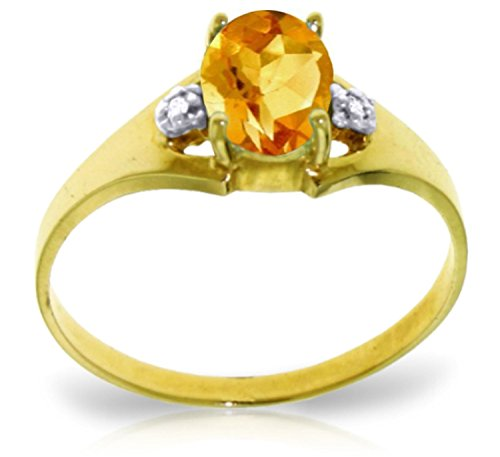 - Galaxy Gold 0.76 Carat 14k Solid Gold Ring with Genuine Diamonds and Natural Oval-shaped Citrine - Size 6