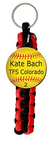 (Paracord Key Ring with Personalized Softball Charm. You choose Name, Team Name, Font Color and Paracord Colors)