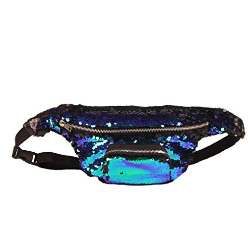 Waist Pack Unisex Outdoor Casual Double Color Sequins Unisex Sports Bag Gift by LMMVP A