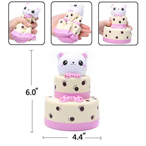 AOLIGE Squishies Slow Rising Jumbo Kawaii Cute Bear Head Cake Panda Creamy Scent for Kids Party Toys Stress Reliever Toy