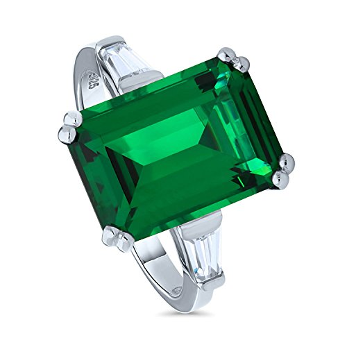 BERRICLE Rhodium Plated Sterling Silver Emerald Cut Simulated Emerald Cubic Zirconia CZ 3-Stone Ring