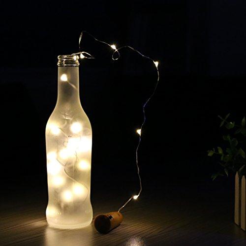 Lámpara solar LED en botella de A-SZCXTOP, botella de vino con corcho, cadena de 10 LEDs en hilo de cobre de 1 m aproximadamente, para decoración de bodas, ...
