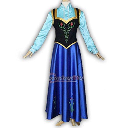 8016 - Plus Size Disney Frozen Princess Anna Woman Adult Cosplay Dress Cape Blue (S)