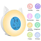 RegeMoudal Wake Up Light Alarm Clock,Sunrise/Sunset Simulation Led Table Bedside Lamp with FM Radio,4 Music Sounds,7 Changing Colors,Humidity and Temperature Displa