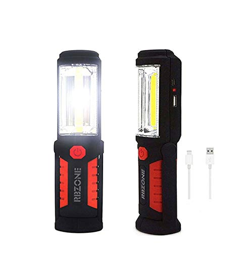 Cordless Rechargeable 2200mAh COB LED Flashlight 650Lm 7W Work Light Lamp Magnetic Support Stand Swivel Hook Great for Camping Household Workshop Automobile (Red)