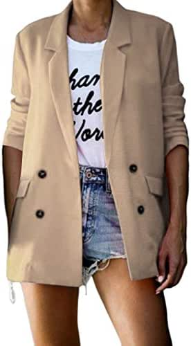Outerwear for Women Plus Size Fashion Casual Ruched Long Sleeve Button Open Front Fit Office Jacket Blazers