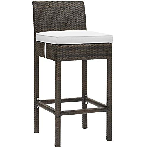 Modway EEI-2799-BRN-WHI Conduit Outdoor Patio Wicker Rattan Bar Stool in Brown White, One