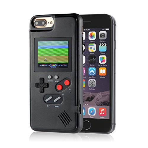 Playable Gameboy Case Gameboy iPhone Case for iPhone, WESION Full Color Display Gameboy Phone Case with 36 Classic Games, Retro Gaming Phone Case Protective Cover (Black, iPhone 6/6S/7/8 Plus)