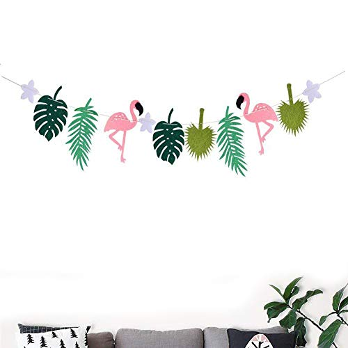 megrocle Pink Flamingos Palm Trees Leaves Tropical Leaves Hawaiian Themed Summer Party Banner Indorr Party Supplies Seasonal Decor Room Decoration Accessory for Luau Summer Party (Palm Banner Tree)