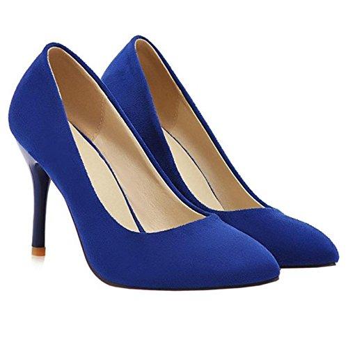 COOLCEPT Mujer Moda Puntiagudo Tacon Alto Tacon De Aguja Court Zapatos with Print (36 EU, Blue)