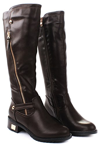 Kaylin Leatherette Zip Knee High Faux Fur Lined Motorcycle Boot Brown Ab5RWa
