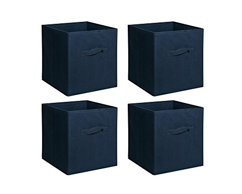 Deep Square Container (New Home Storage Bins Organizer Fabric Cube Boxes Shelf Basket Drawer Container Unit (4, Deep Blue))
