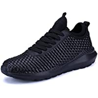kubua Mens Zapatillas de running Cubierta y al aire última intervensión Deporte athietic Fitness Moda Zapatillas Casual, Color blanco y negro