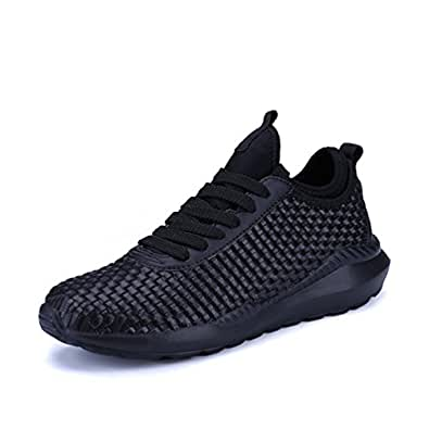 KuBua Mens Running Shoes Indoor and Outdoor Sport Athietic Fitness Fashion Sneaker Casual High Top White Black EU 36 Black