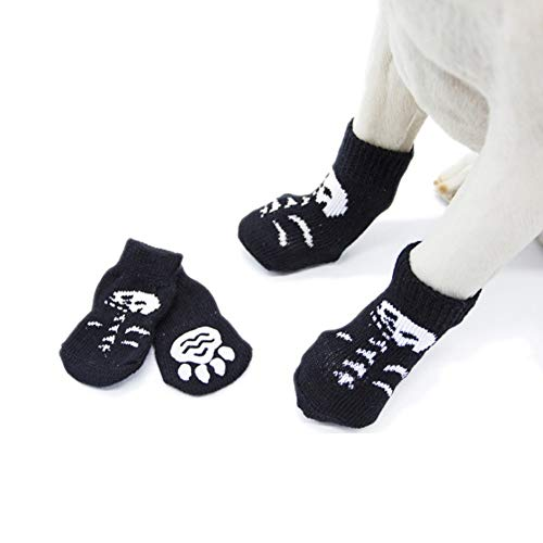 Stock Show 4Pcs Pet Knits Socks Pet Halloween Anti Slip Skid Bottom Socks Paw Protectors for Indoor Wear, Suitable for Puppy Small Medium Dogs Cats, Black]()