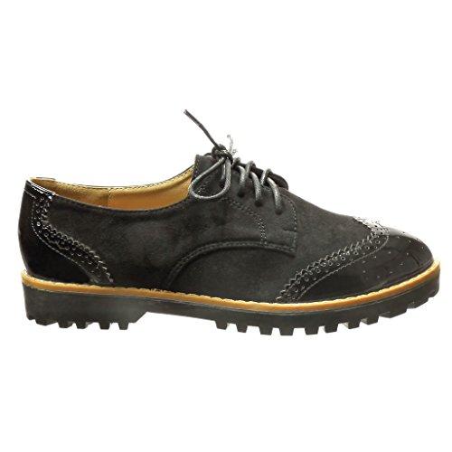 Angkorly - Chaussure Mode Derbies bi-matière femme perforée verni Talon bloc 2.5 CM - Noir