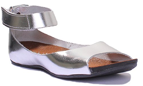 Justin Reece Womens Ladies Leather Ankle Strap Open Toe Sandal Silver 2iFRSn