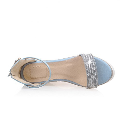 Blue AmoonyFashion Heels Solid Womens Toe Open PU High Buckle Sandals rqSznwrA7