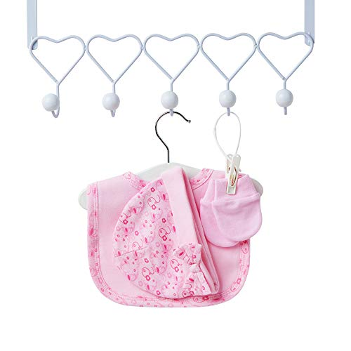 Baby Gift Set in Pink – Baby Shower Hamper for Baby Girl with Baby Gifts Including a Rattle, Photo Frame, Muslin Cloth…