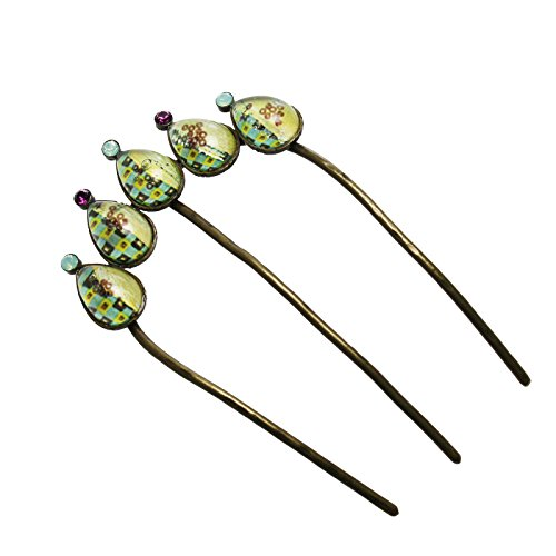 Tamarusan Haircomb Hair Clip Green Dumpling Style Hair Pin Handmade by TAMARUSAN
