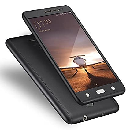 sale retailer 31a4b c263b JMA Front and Back Case Cover for Xiaomi Redmi Note 3 with Tempered Glass  (Black)