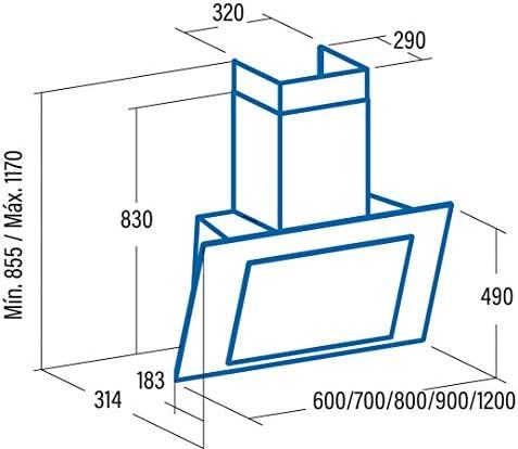CATA   campana extractora   Modelo THALASSA 700XGWH   5 velocidades de extracción   campana extractora cocina 820m3/h - 200m3/h   Acabado en cristal blanco/negro  : 343.06: Amazon.es: Grandes electrodomésticos