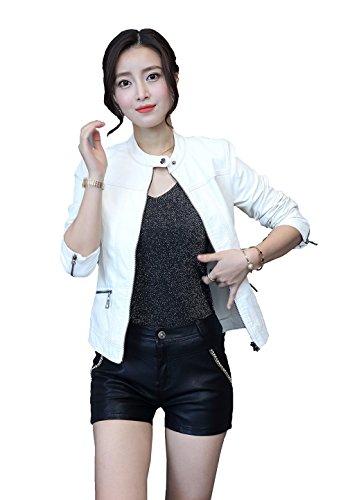 Vintage White Leather Jacket - 1