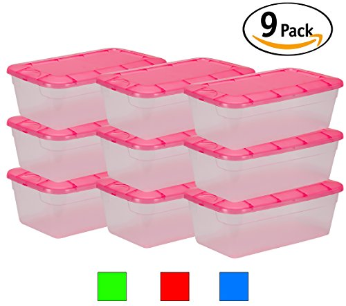 DecorRack Clear Plastic Storage Containers, Shoe Boxes, Stackable, Also Perfect for Toy Storage or as Cat and Dog Food Container, Pink Color (9 - Boxes Clear Boot Shoe