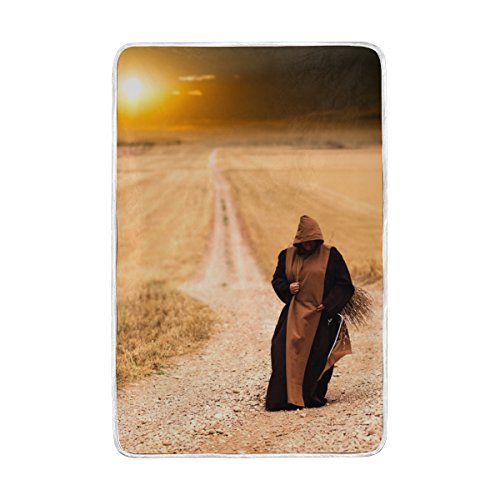 Afternoon Path - Josid Blanket Soft Warm Lightweight 60x90 Inches Monks Path Sunset Landscape Afternoon Personalized Stylish for Bed Couch Sofa Travelling Camping Kids Boys Women
