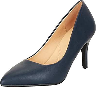 Cambridge Select Women's Classic Slip-On Closed Pointed Toe Padded Comfort Insole Stiletto Mid Heel Pump Blue Size: 5.5