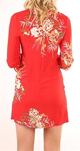 Neck Womens Round Slim Fit Tunic Mini Dress Flare Cromoncent Sleeve Red Floral 0wOdWq