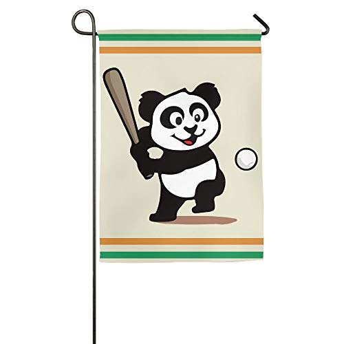 Funny Cartoon Art Baseball Panda Garden Flag Indoor & Outdoor Decorative Flags for Parade Sports Game Family Party Wall Banner 28x40 inches