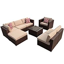 Super Patio 8pc Outdoor Rattan Sectional Furniture Set with Beige Seat and Back Cushions, Aluminum Frame, Espresso Brown PE Wicker