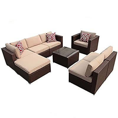 Super Patio 8 Piece Outdoor Furniture Sets, Outdoor Rattan Sectional Furniture Set Beige Velcro Cushions, Brown PE Wicker - 【Sturdy & Attractive】Constructed from strong yet lightweight powder coated aluminum frame and commercial grade hand woven polyethylene wicker in Espresso Brown creating a whole new look and feel for your patio 【Upgraded Comfort】Comes with 4-inch thick lofty sponge padded seat cushions and back cushions for more comfort and relaxation are also included (Cushions are NON WATER-RESISTANT) 【Easy to Clean】All cushions come with zippered 250g polyester covers which are removable for easy cleaning; Removable tempered glass on the table adds more convenience to clean after use and a sophisticated touch as well - patio-furniture, patio, conversation-sets - 416qWuR pZL. SS400  -