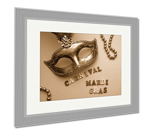 Ashley Framed Prints Colorful Mardi Gras Or Carnivale Mask On A Purple Venetian Masks Top View, Contemporary Decoration, Sepia, 26x30 (frame size), Silver Frame, AG6470698 - Venetian Yellow Necklace
