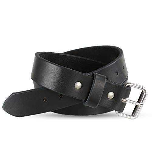Black Full Grain Leather - Heavy Duty Full Grain Leather Belt - 1.5 Inch Wide - One Piece Thick Leather - Made in USA (Black, 52)