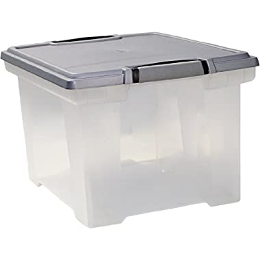 Storex Storage File Tote with Locking Handles, 18.5 x 14.25 x 10.88 Inches, Clear/Silver (61530U01C)