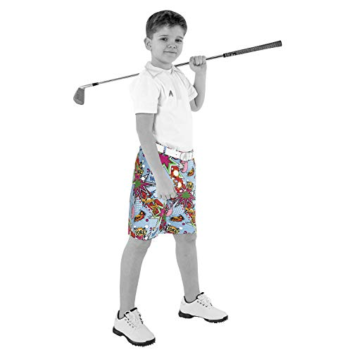 (Royal & Awesome Kids Partoon Bright Golf Shorts - X-Small Age 6-7 Years)