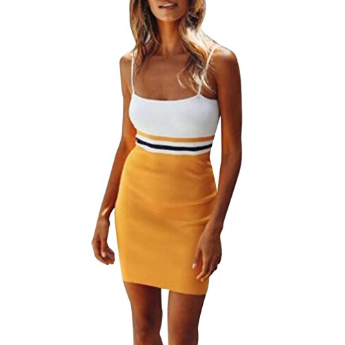(Women Maxi Dress, Casual Sleeveless O Neck Stripes Summer Party for Beach Sundress (3-Orange, L))