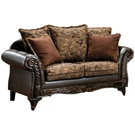 Furniture Of America Inigo Fabric And Leatherette Love Seat With Accent Pillows And Wood Trim Dark Brown Floral Print