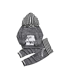 TOBABYFAT Newborn Boy Clothes Toddler Baby Hoodie Dinosaur Sweatshirt Top+Pant